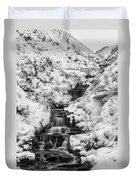 Snowy Waterfall In The Peak District In Derbyshire Duvet Cover