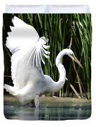 Snowy White Egret In The Wetlands Duvet Cover