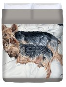 Snuggling Yorkies Duvet Cover