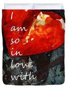 So In Love With You - Romantic Red Heart Painting Duvet Cover