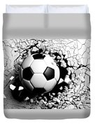 Soccer Ball Breaking Forcibly Through A White Wall. 3d Illustration. Duvet Cover