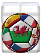 Soccer Ball With Flag Of Wales In The Center Duvet Cover