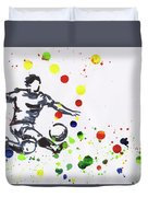 Soccer Player In Action Duvet Cover