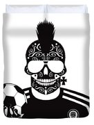 Soccer Skull Icon Background With Sunglasses And Ball. Duvet Cover