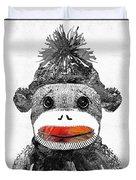 Sock Monkey Art In Black White And Red - By Sharon Cummings Duvet Cover