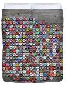 Soda Pop Bottle Cap Map Of The United States Of America Duvet Cover