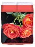 Soft Full Blown Red-orange Roses On Black Background. Duvet Cover