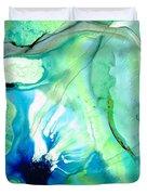 Soft Green Art - Gentle Guidance - Sharon Cummings Duvet Cover