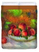 Soft Peaches Still Life Duvet Cover