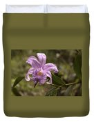 Soft Pink One-day Orchid With Droplets Of Dew Duvet Cover