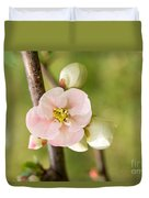 Pink Quince Blossom Duvet Cover