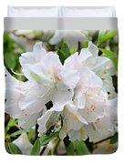 Soft White Azaleas Duvet Cover