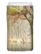 Softly Falls The Snow Duvet Cover by Lori Frisch
