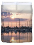 Softly - God Rays And Yachts In Rose Gold And Amethyst  Duvet Cover