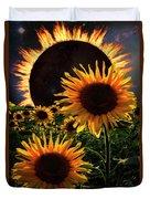 Solar Corona Over The Sunflowers Duvet Cover