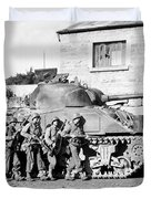 Soldiers And Their Tank Advance Duvet Cover