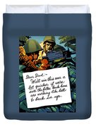 Soldier's Letter Home To Dad -- Ww2 Propaganda Duvet Cover