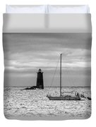 Solitary Sailor, New Castle Sunrise Duvet Cover