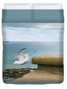 Solitary Seagull Take-off Duvet Cover