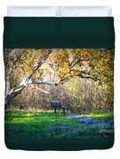 Solitude Under The Sycamore Duvet Cover by Carol Groenen