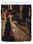 Soloist - Solitary Woman With Violin Duvet Cover