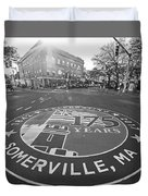 Somerville Ma Davis Square 175 Years Black And White Duvet Cover
