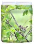 Song Sparrow With Dinner Duvet Cover