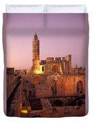 Sound And Light Show At Jerusalem City Duvet Cover