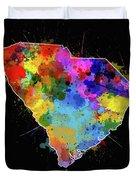 South Carolina Map Color Splatter 2 Duvet Cover