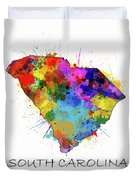South Carolina Map Color Splatter Duvet Cover