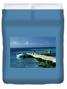South Caye Belize Boat Dock Duvet Cover