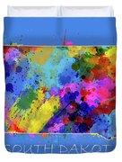 South Dakota Map Color Splatter 3 Duvet Cover