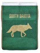 South Dakota State Facts Minimalist Movie Poster Art Duvet Cover