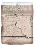 South Dakota State Usa 3d Render Topographic Map Neutral Border Duvet Cover