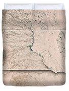South Dakota State Usa 3d Render Topographic Map Neutral Border Duvet Cover