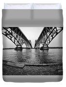 South Grand Island Bridge In Black And White Duvet Cover
