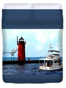 South Haven Michigan Lighthouse By Earl's Photography Duvet Cover