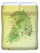 South Korea Map Square Cities Straight Pin Vintage Duvet Cover