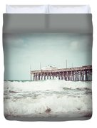 Southern California Pier Vintage 1950s Picture Duvet Cover by Paul Velgos
