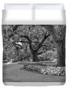 Southern Oaks In Black And White Duvet Cover
