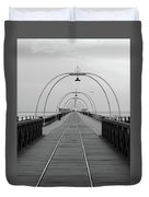 Southport Pier At Sunset With Walkway And Tram Lines Duvet Cover