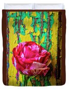 Soutime Rose Against Cracked Wall Duvet Cover