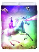 Space Cat Riding Unicorn - Laser, Tacos And Rainbow Duvet Cover