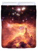 Space Image Orange And Red Star Cluster With Blue Stars Duvet Cover