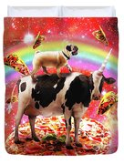Space Pug Riding Cow Unicorn - Pizza And Taco Duvet Cover