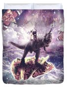 Space Pug Riding Dinosaur Unicorn - Pizza And Taco Duvet Cover