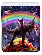 Space Pug Riding Dinosaur Unicorn - Taco And Burrito Duvet Cover