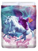 Space Sloth On Unicorn - Sloth Pizza Duvet Cover