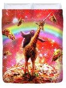 Space Sloth Riding Giraffe Unicorn - Pizza And Taco Duvet Cover
