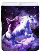 Space Sloth Riding On Unicorn Duvet Cover